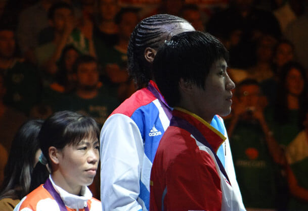 London 2012 women's final boxing victory ceremony